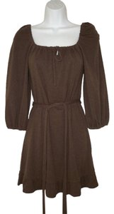 Alice + Olivia short dress Brown Knit Cotton Ruffled Belted on Tradesy