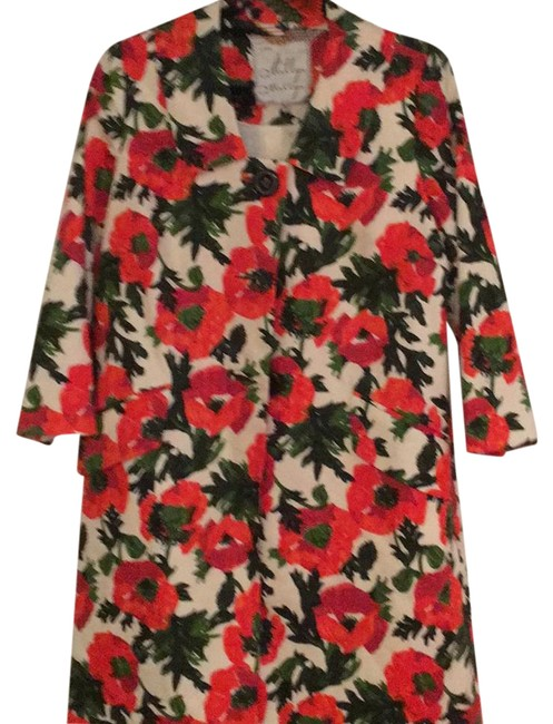 Item - Floral Burnt Red and Green Jacket Size 8 (M)