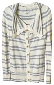 Banana Republic Striped Soft Casual Gray Neutral Cardigan