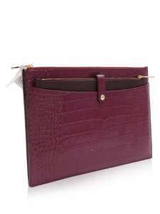 Coach Croc Embossed Burgundy Clutch