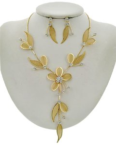 Other Gold Clear Rhinestone Necklace & Earring Set