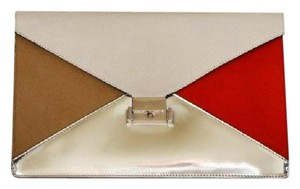 Céline Pony Metallic white/orange/silver Clutch