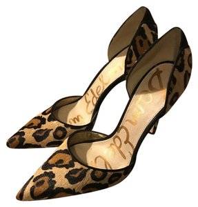 Sam Edelman New Sold Out Pointy-toe Genuine Calf Hair Leopard Print Pumps