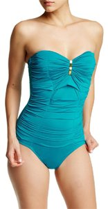 Badgley Mischka Badgley Mischka Solid Pleated Bandeau One-Piece Suit