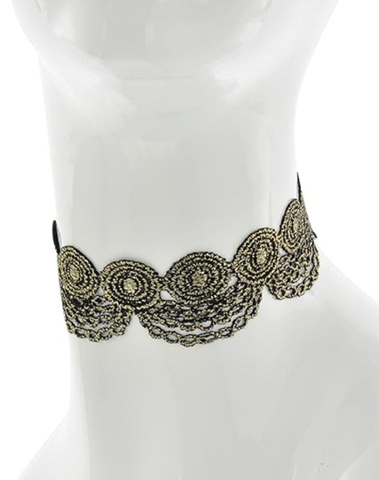 Other Black & Gold Fabric Lace Reversible Choker Image 0