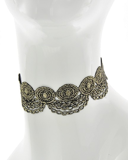 Other Black & Gold Fabric Lace Reversible Choker Image 2