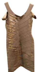 Hervé Leger short dress taupe on Tradesy