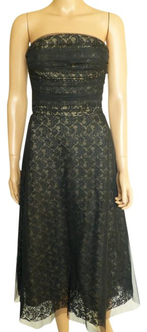 Preload https://img-static.tradesy.com/item/20545223/bcbgmaxazria-black-strapless-lace-tulle-mesh-fit-and-flare-mid-length-formal-dress-size-4-s-0-1-650-650.jpg