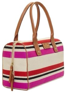 Kate Spade Oak Island Stripe Kaleigh Canvas/leather Multi-color Satchel in Natural/Multi