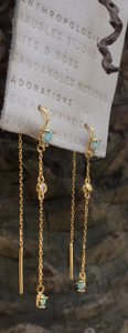 Anthropologie opal dangling gold earrings