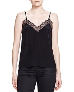 The Kooples Lace Silk Top Black