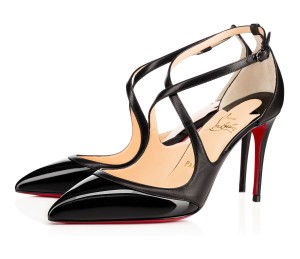 Christian Louboutin Crissos 85mm Ankle Strap Crossover Strap Patent Black Pumps