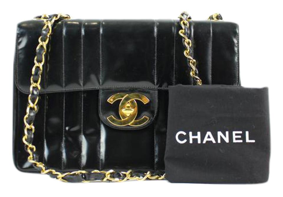 55f6fadcfb02e8 Chanel Classic Flap Vertical Quilted Maxi 25cca11617 Black Patent Leather  Shoulder Bag