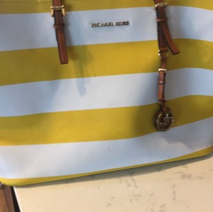 Michael Kors Tote in Yellow and White Stripe