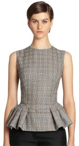 Alexander McQueen Peplum Wool Multicolor Top Gray