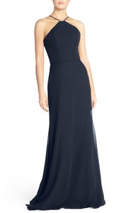 Hayley Paige Collections Indigo Strappy V-back Chiffon Halter Dress Dress