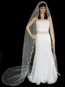 Beaded Embroidery Cathedral Length Wedding Veil