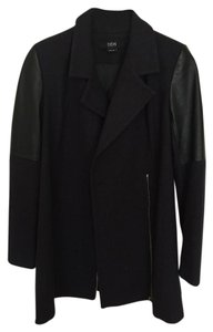 Yigal Azroul Cut25 Leather Wool Pea Coat