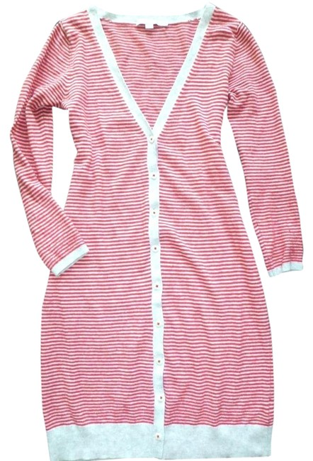 Item - Red Gray Striped Wool Sweater Dress Cardigan Coat Size 6 (S)