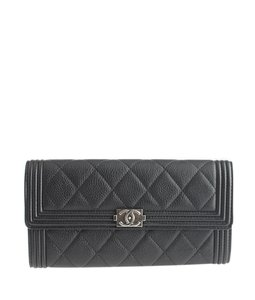 Chanel Chanel A80286 Black Caviar Quilted Leather Snap Wallet (111522)