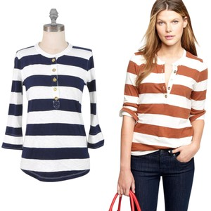 J.Crew Striped Henley Rugby Longsleeve Top Navy and White