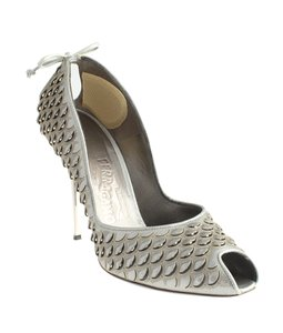 Salvatore Ferragamo Leather Peep Toe Silver,Gold Pumps
