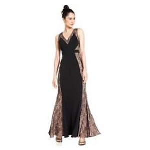 JS Collections Black Sleeveless Lace Panel gown Dress