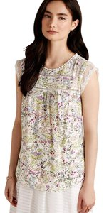 Anthropologie Meadow Rue Floral Lace Short Sleeve Drawstring Top White