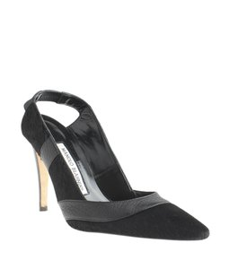 Manolo Blahnik Manolo Pony Hair Leather Sling-back Black Pumps