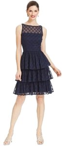 London Times Tiered Sleeveless Lace Dress