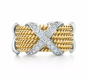 Tiffany & Co. 18K Gold & Platinum SCHLUMBERGER Rope Six-row Diamond