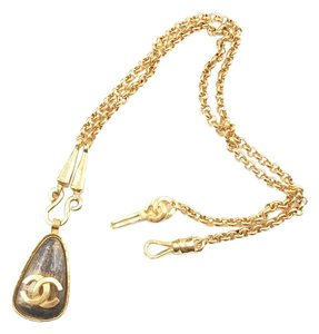 Chanel Vintage Chanel Gold Plated Stone Tear Drop Pendant Long Necklace