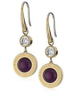 Michael Kors Michael Kors MKJ5871710 Logo Purple Crystal Gold tone Drop Earrings