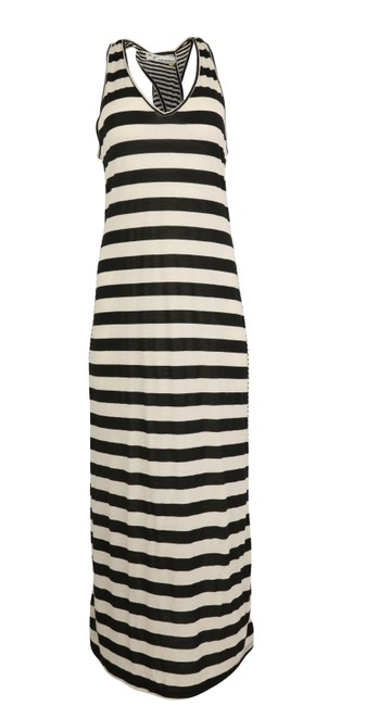 Item - Black And White Striped Long Casual Maxi Dress Size 2 (XS)