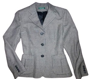 Ralph Lauren 100% Wool Houndstooth Black, Cream Blazer