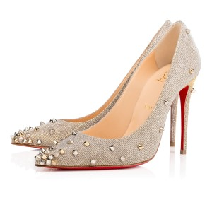 Christian Louboutin Spike Glitter Pointed Toe Canvas Embellished Silver Pumps