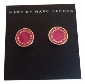 Marc Jacobs MARC JACOBS PINK GOLD LOGO DISC POST EARRINGS NWT