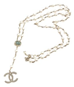 Chanel Chanel Classic Gold CC Green Stone Dangle Pearl Long Necklace