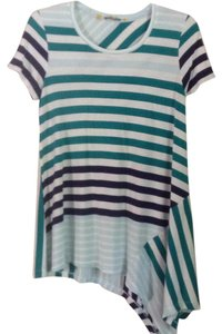 Anthropologie T Shirt white teal multi