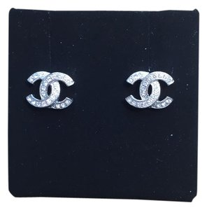 Chanel Chanel Crystal CC Earrings Studs