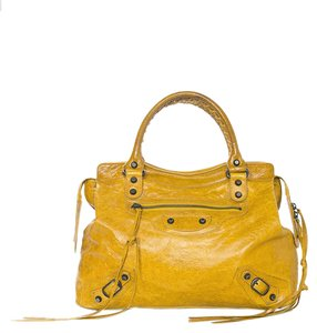 Balenciaga Leather Top Handle Studs Tote in Mustard