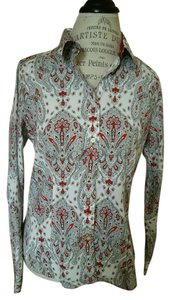 Talbots Top Paisley - Red, White, Gray