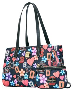Dooney & Bourke & Wristlet Black Pvc Canvass Leather Satchel in BLACK (MULTI)
