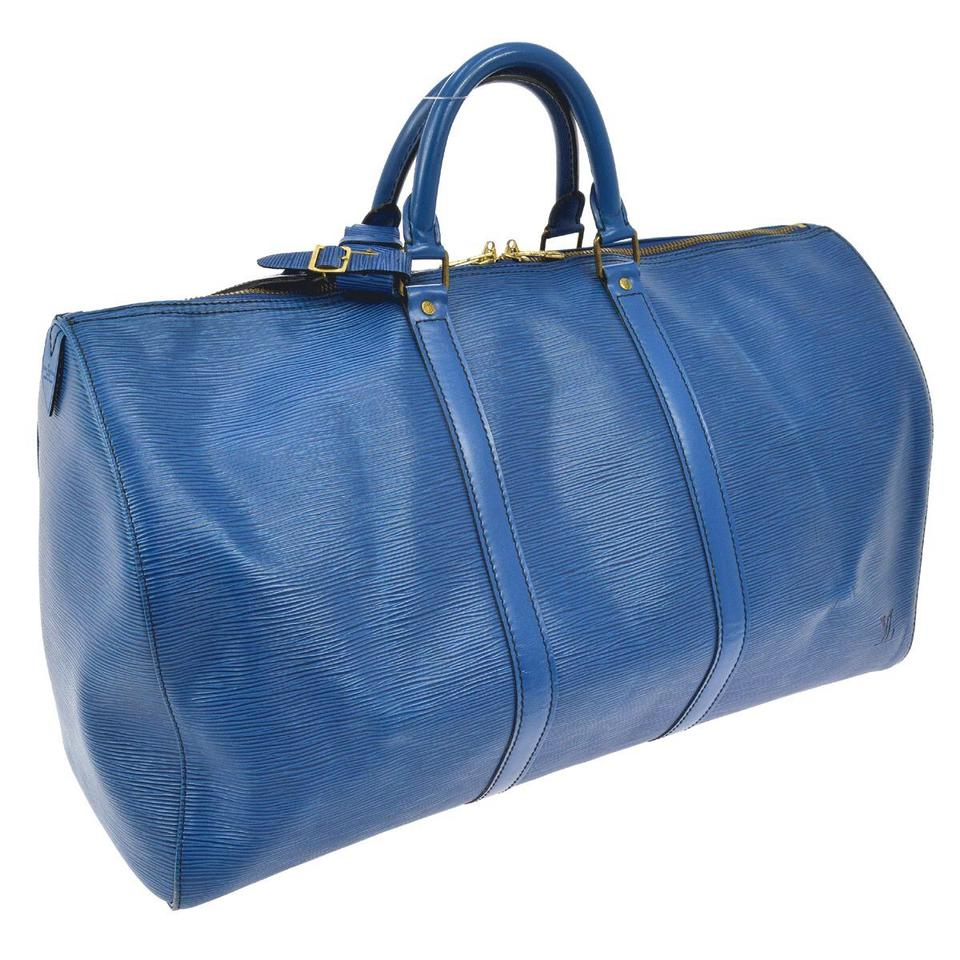 d8f15e5a708 Louis Vuitton Keepall 50 Blue Epi Leather Weekend Travel Bag - Tradesy