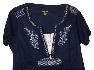 Northcrest Peasant V Neck Xl Top Navy