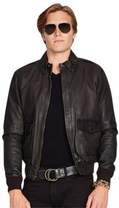Ralph Lauren Farrington Bomber Aviator Mens Leather Jacket