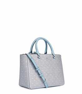 Tory Burch Leather Satchel in Soft Silver