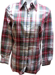 Chadwicks Plaid Checkered Button Down Shirt Red/White/Green