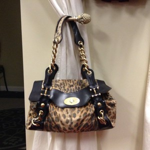 Maxximum Leather Leopard Cheetah Velvet Satchel in Brown/Black