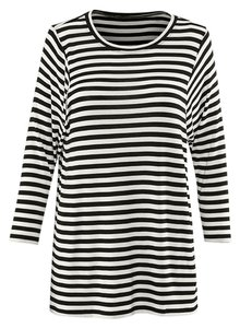 CAbi Black And White Stripes Top